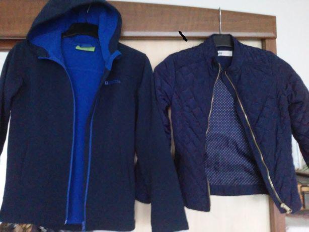 kurtka granatowa H&M (140cm) i bluza SoftShell(152-158) od 30zł