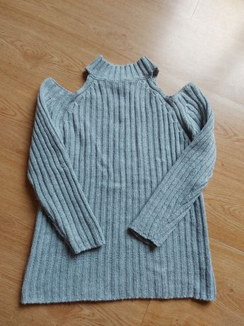 SELFIEROOM szary sweterek półgolf z wyciętymi ramionami