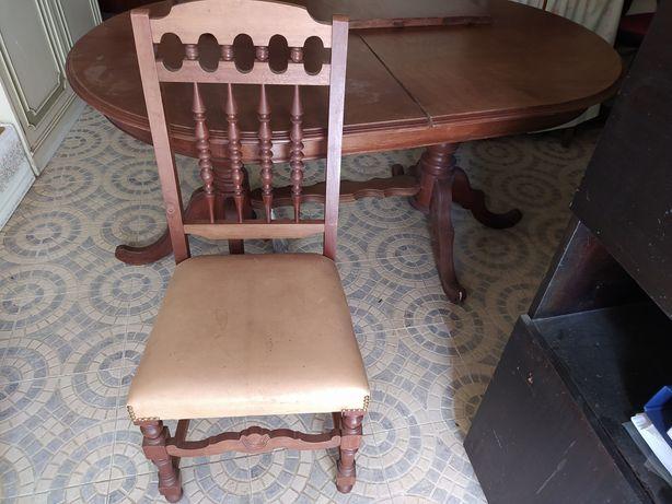 Mesa de jantar extensível e 6 cadeiras