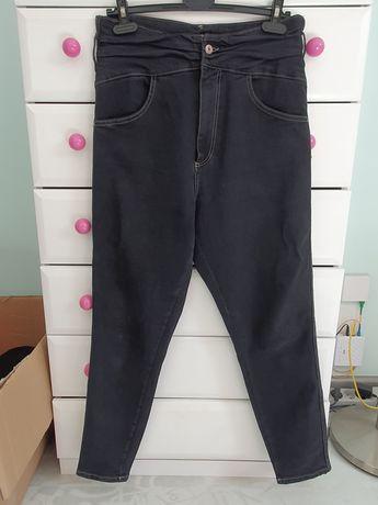 Nowe spodnie jeansowe jeans wysoki stan zara L/XL granatowe rurki