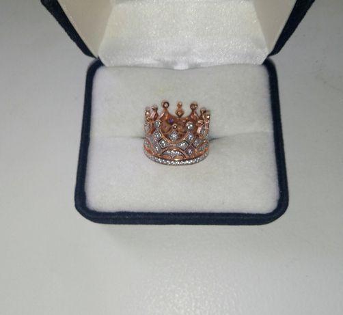 Кольцо - корона, серебро в позолоте, 925, 17 р