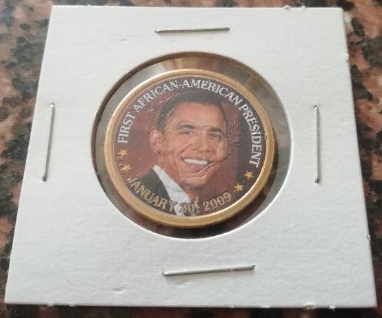 moneta 1 Dollar Van Buren z nadrukiem kolorowym OBAMA 2008 P pozłacana