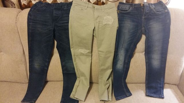 Dziewczęce spodnie jeans, dresowe, getry, spódnica r. 134