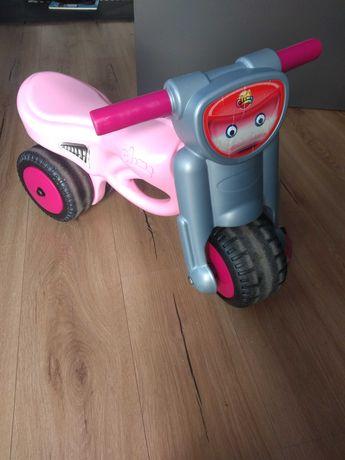 Motorek rowerek biegowy różowo szary dla dziewczynki