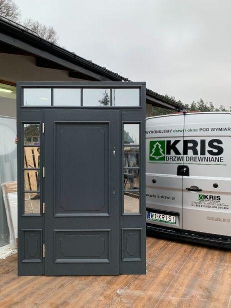 Drzwi zewnętrzne z naświetlami bocznymi i górnym czyste powietrze 75mm