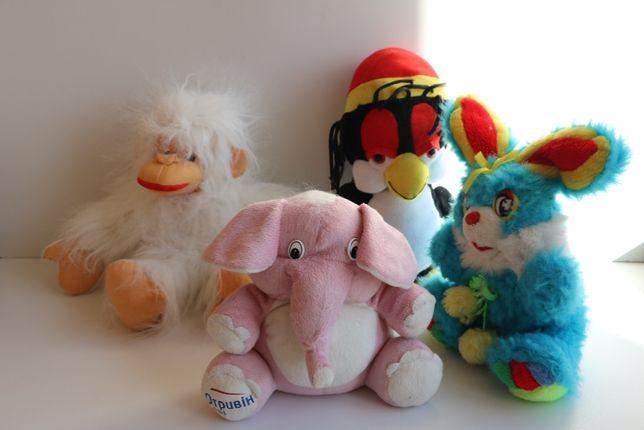 Мягкие игрушки 4 штуки: слон, обезьяна, заяц и пингвин
