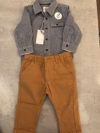 Nowy komplet koszula spodnie dla chłopczyka chrzest Cool Club rozm 74