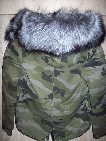 Zimowa parka srebrne futro moro 36 S jenot kurtka