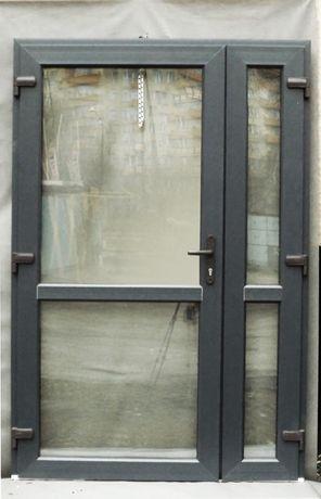 drzwi PCV kolor antracyt 140x210 sklepowe biurowe szyba