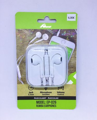 Auriculares com microfone / Earphones 3.5mm - estilo Apple