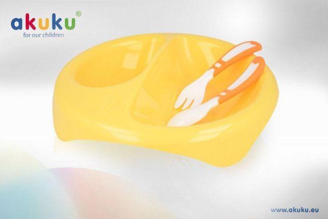 """Набір столовий пластиковий, ложка, виделка, тарілка """"AKUKU"""" (Польща)"""