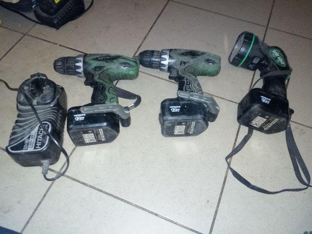 dwie wkrętarki i latarka chitachi 12V - 3 baterie i wkrętarka bosch