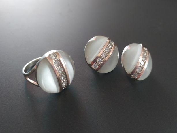 Кольцо и серьги серебро+золото и улексид