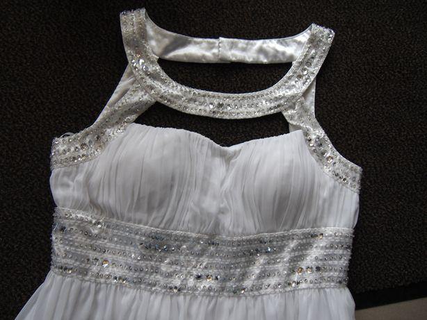 Suknia sukienka ślubna druchna przebranie ślubne 42/XL biała ciążowa