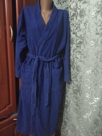 Халат махровый синий