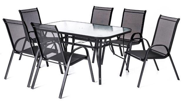 Komplet Mebli Ogrodowych Meble Ogrodowe TARAS Szklany stół 6 krzeseł