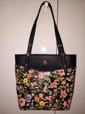 Anne Klein nowa torebka czarna w kwiatki