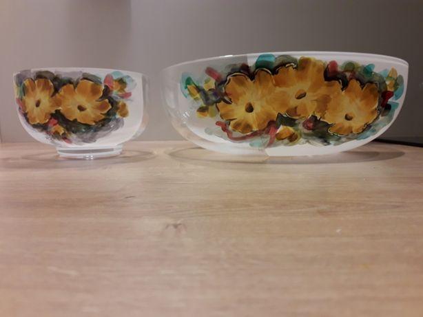 salaterki komplet mała i duża nowe ręcznie malowane Andrzej Bednarczyk