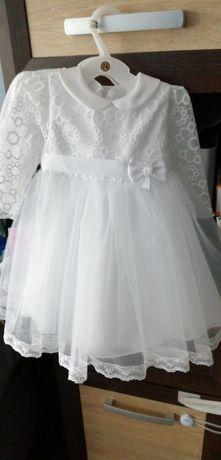 Sukienka iskierka+kapelusz na chrzest rozmiar 74