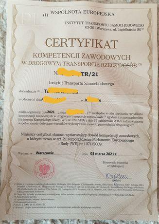 Certyfikat kompetencji zawodowych, licencja