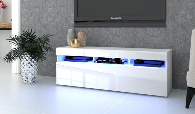 Duża Szafka RTV Komoda PLAY LED Wysoki Połysk biała  dąb craft