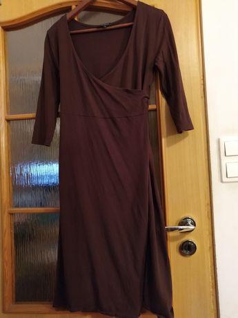 Brązowa kopertowa sukienka dla ciężarnej i karmiącej