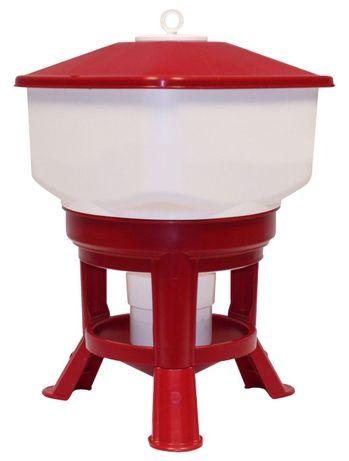 Poidło automatyczne dla drobiu, duże, 50 l, biało czerwone NOVITAL