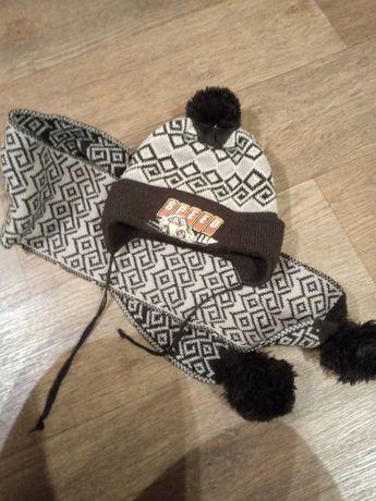 Комплект зимняя шапка и шарф 2-4 года