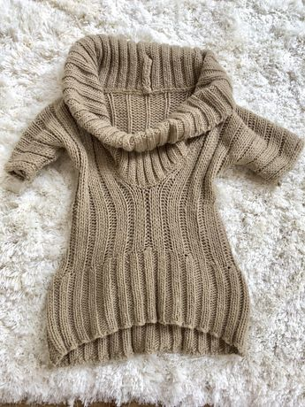 Sweterek sweter s m camel bez golf hand made