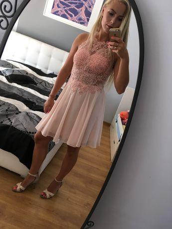 sukienka pudrowy róż, idealna na wesele S
