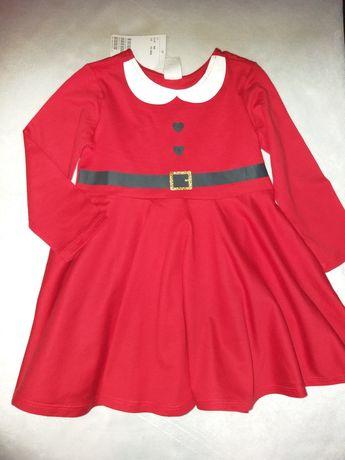 Платье   новогодний принт на 12-18м