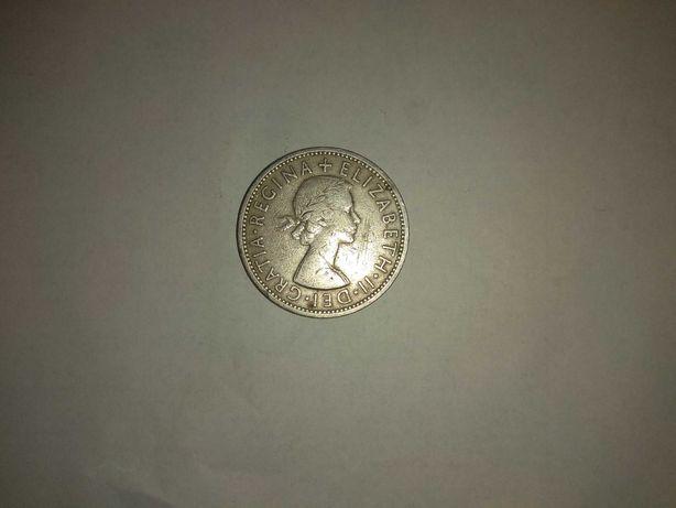 монета два шиллинга 1955 года выпуска