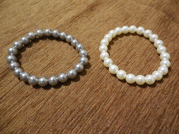 bransoletki perełki srebrna i kremowa.