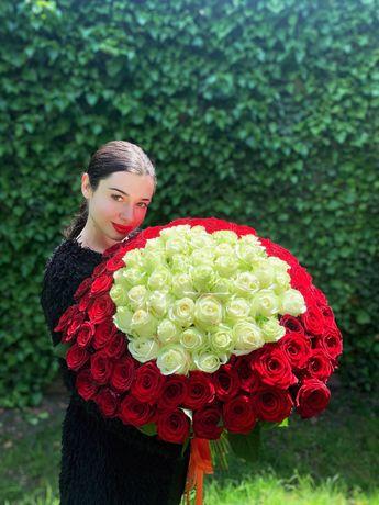 Подарок Букет 101 роза 60 см 2600 грн опт троянди квіти Одесса