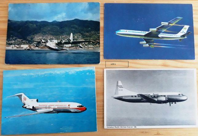 Lotes de postais (ou fotos) de antigos de aviões (Old Posts Cards)