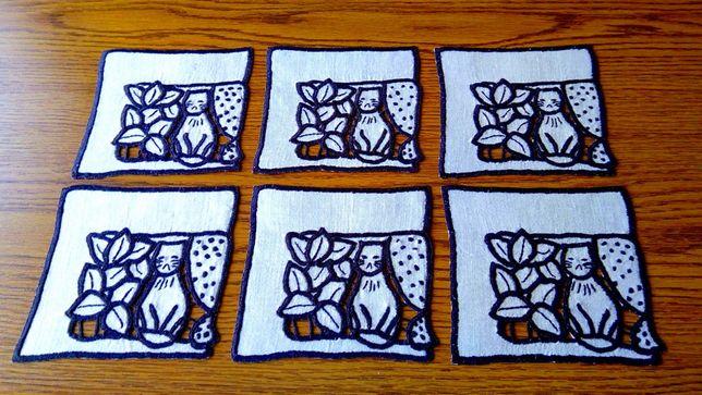 Ręcznie haftowane serwetki Kotki