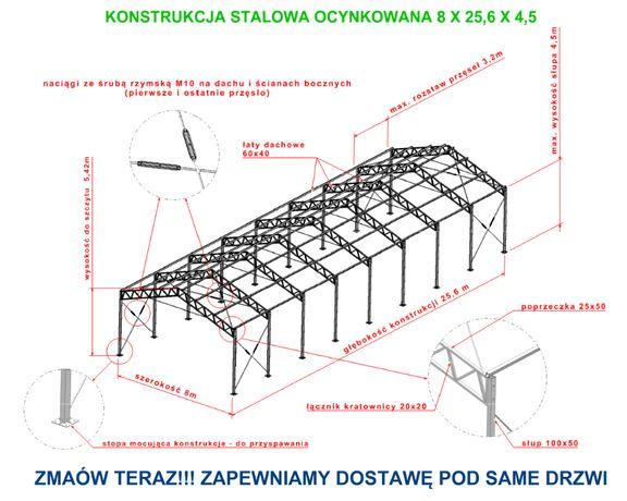 Garaż 8x26x4 hala magazyn wiata modułowa mocna Konstrukcja ocynkowana
