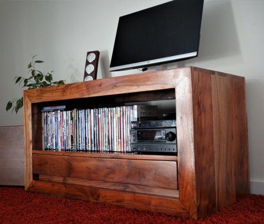 Kolonialna szafka RTV z litego drewna egzotycznego – AlmiDecor CUBE