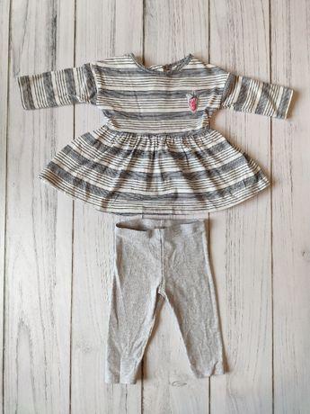 Zestaw dla dziewczynki sukienka+spodenki, leginsy, Next, 62-68cm, 3-6