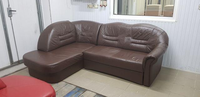 Narożnik skórzany sofa kanapa skóra rogówka funkcja spania jak nowy
