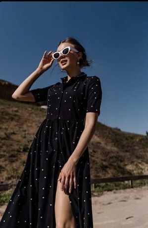 Платье чёрное в Горошек