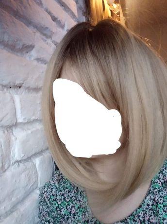 Peruka Półdługa ombre bob z grzywką blond