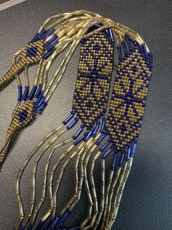 Бусы подвеска плетёное украшение из бисера ручная работа национальное