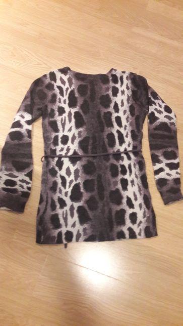 Ciepły sweter tunika H&M Mama ciąża lampart