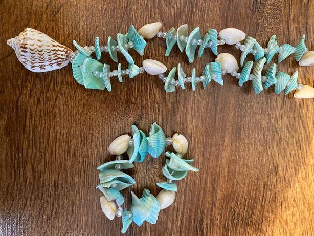 Komplet korale naszyjnik bransoletka z muszelek zielony
