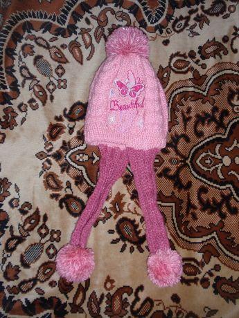Зимова шапка для дівчинки на 4-6 роки