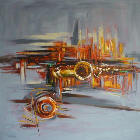 Abstrakcja z saksofonem - Dorota Łaz - olej o wym: 100x100cm