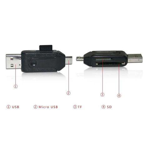 Универсальный Картридер 4в1 Micro USB OTG TF/SD Card Reader адаптер ОТ