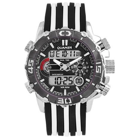 Часы наручные QUAMER ремешок каучук, dual time. Цвета: Белый, синий, к