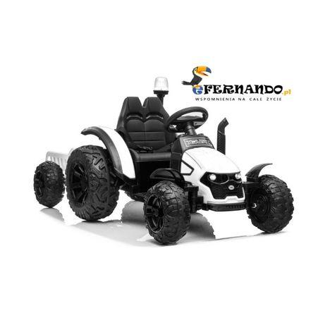 Traktor na akumulator Ciągnik Xerion biały, koła EVA + przyczepka